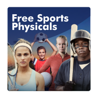 An image of young athletes on a field with soccer balls, tennis and baseball gear. Text says free sports physicals.