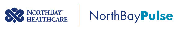 NorthBay Healthcare logo and the NorthBay Pulse Logo together separated by a golden line