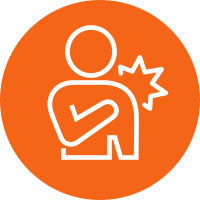 Orange circle with a white vector image of a person holding their hurt shoulder.