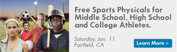 Promo image for the Spring Sports Physicals on Jan 11. Middle school through college athletes