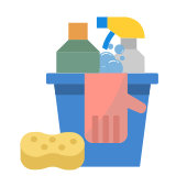 a colorful icon of household cleaning supplies