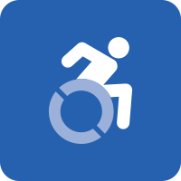 A blue square with the white icon of a person in motion using their wheelchair.