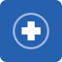 Blue square with rounded corners and a white medical cross with a circle around it in the middle.