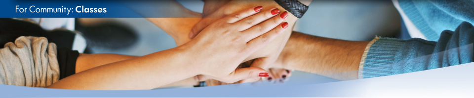 A group of people place their hands on top of each other as a sign of teamwork. This is the home page for Classes.