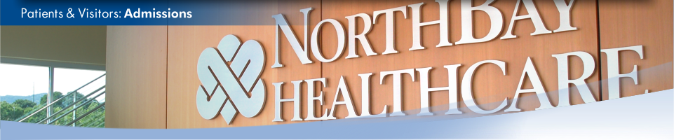 Close-up view of a NorthBay Healthcare logo inside our Administration Center. This is the admissions page.