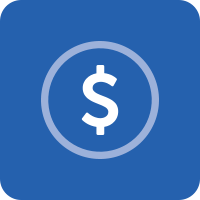 Blue square with a vector icon of a circle with a dollar sign in the middle. This link goes to our financial counseling page.