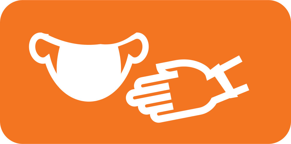 Rounded rectangle with an orange background and white vector image of a mask and gloves.