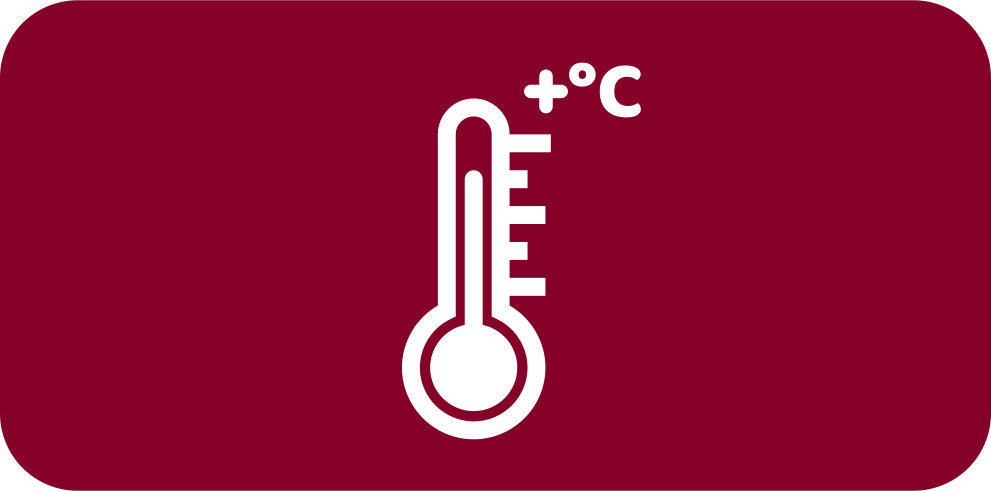 Rounded dark red rectangle with white icon of a thermometer.