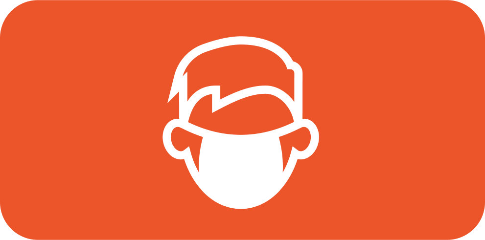 Rounded orange-red rectangle with white icon of a person wearing a face mask.