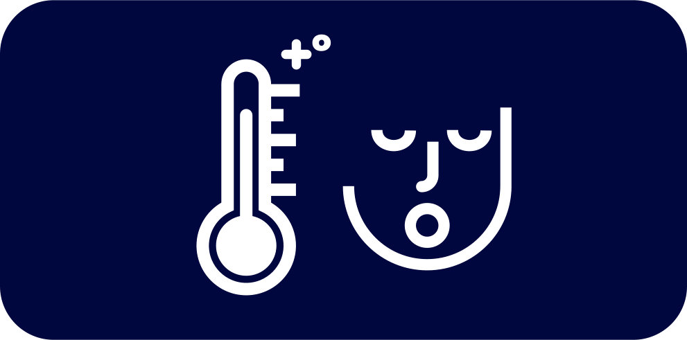Rounded dark blue rectangle with white icon of a thermometer next to a person's face.