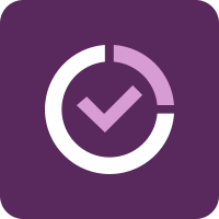 Dark purple square with a white icon of a circle with a check mark in the center.