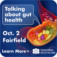 Stylized image of a stomach with fruit and vegetables inside it. Text on the image reads: Talking about gut health, Oct. 2, Fairfield. Click to learn more about this event.