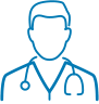Blue vector icon of a doctor