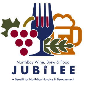 Wine, Brew & Food Jubilee logo featuring the imagery of grapes, a fork in the shape of a filled wine glass, and a beer mug.