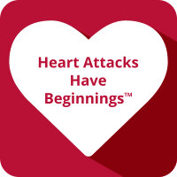 Red background with a white vector image of a heart with the words Heart Attacks Have Beginnings inside of it.