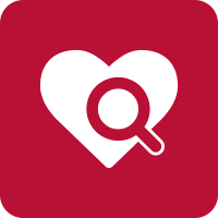 Red square with the white icon of a heart with a magnifying glass over it.