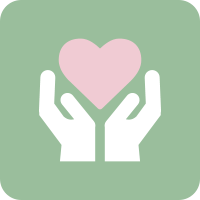 Light green rounded square with a white vector of hands holding a soft pink heart.
