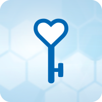 Blue icon of a heart-shaped key on a light blue honeycomb background.