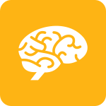 Large rounded yellow square with a white icon of a brain.