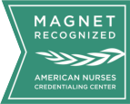 "Magnet Logo with the text ""Magnet recognized. American Nurses Credentialing Center."" Click here to read more about our magnet designation."