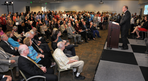Image of the packed room where the collaboration between NorthBay Healthcare and Mayo Clinic was announced.