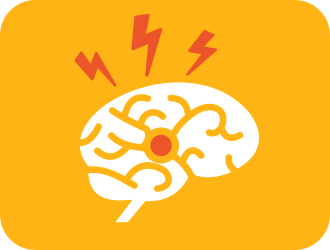 Yellow square with a white icon of a brain in the middle. Three orange lightning bolts appear above it.