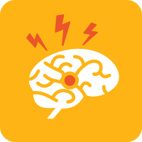 Yellow square with the white icon of a brain with an orange dot in the middle and three orange lightning bolts coming out of it.