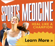 The words 'Sports Medicine' and 'heal like a campion' appear on an orange background. Three runners appear slightly overlapping the 'Sports Medicine' in the left corner. In the right corner the text 'Learn More' can be seen over a yellow shape.