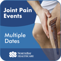 Man holding his knee with a rusty hint. Text on image reads: Joint Pain Events, multiple dates below.