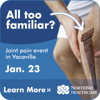 A man clutching a knee with a rusted hinge photoshopped on it. The image reads: Joint Pain event in Vacaville on Jan 23. Learn more.