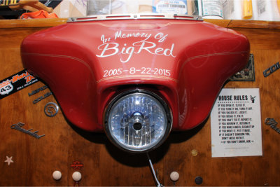 "All that remains of Howard's beloved motorcycle is this tribute to ""Big Red,"" made into a night light by a family friend."