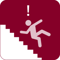Vector image of a stick figure person falling down the stairs with an exclamation mark over their head.