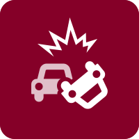 Vector image of a car crash on a dark red background. This image links to an infographic on the difference between EDs and Trauma Centers.