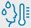 Blue vector icon of the side profile of a human face with sweat droplets near it's forehead and a temperature reader to the right of it's face.