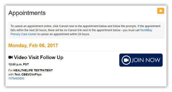 Screenshot of inside our patient portal, MyNorthBayDoc, on the appointments page. Image shows an appointment for a test patient and a large join now video visit button.