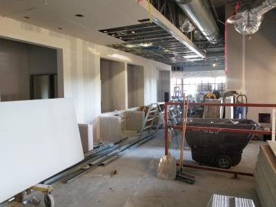The old NorthBay Medical Center lobby is being transformed into the Emergency Department's new registration area.