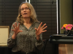 Genetic Counselor Karen Vikstrom shares eye-opening information about direct-to-consumer genetic tests with Soroptimist International of Vacaville members.