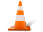 Orange traffic cone with two white stripes