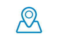 Blue vector icon of a location ping on a map