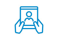 Blue vector icon of a pair of hands holding up a tablet like device with a human silhouette on the screen.