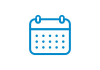 Blue vector icon of a calendar.