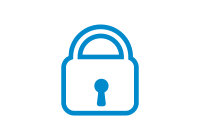 Blue vector icon of a lock