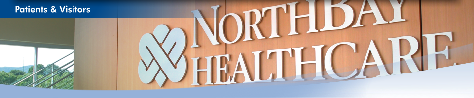 Close-up view of a NorthBay Healthcare logo inside our Administration Center. This is the patients & visitors home page.