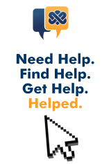 "Image description: MyNorthBayDoc's logo of one gold word bubble overlapping a dark blue word bubble appears at the top of the image. Below the logo the text ""Need Help. Find Help. Get Help. Helped."" appears with a white cursor arrow."