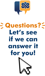 "Image description: MyNorthBayDoc's logo of one gold word bubble overlapping a dark blue word bubble appears at the top of the image. Below the logo the text ""Questions? Let's see if we can answer it for you!"" appears with a white cursor arrow under it."