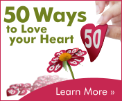 A pair of fingers hold up a plucked petal with the number '50' on it. Another hand holds up a flower whose petals also have numbers. Text in the top left reads '50 Ways to love your heart'. Text in the bottom right reads 'Learn More'.