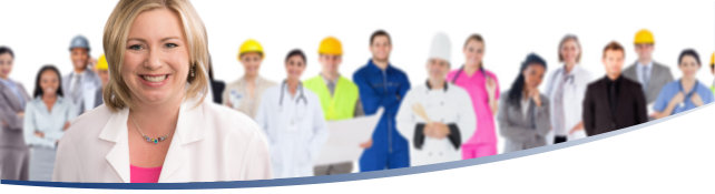 A doctor in a white coat stands in front of a line of occupational workers from a wide array of industries.