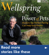 The cover of the latest Wellspring is shown. Click here to read more patient stories on Wellspring.
